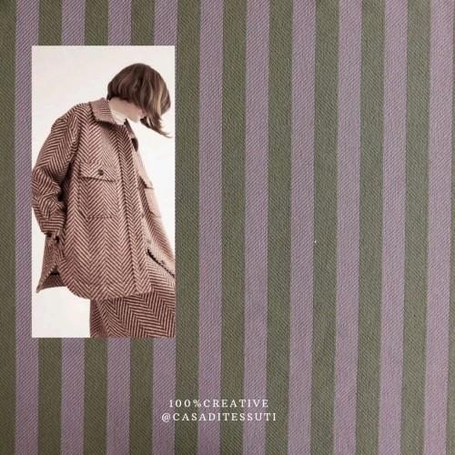 Ткань пальтово-костюмная в полоску с люрексом
