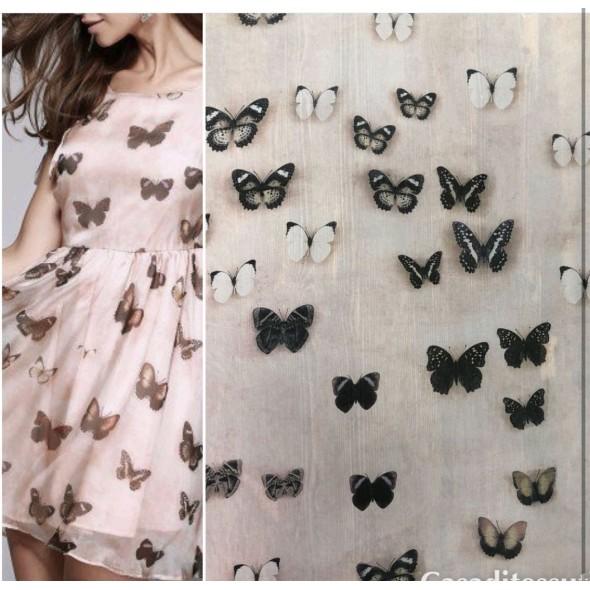 Шифон розовый с бабочками