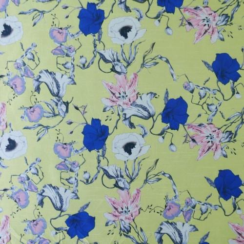 Ткань с цветочным принтом светло-желтая
