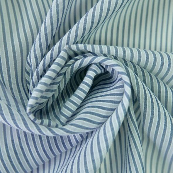 Ткань вискозный батист в полоску синего цвета