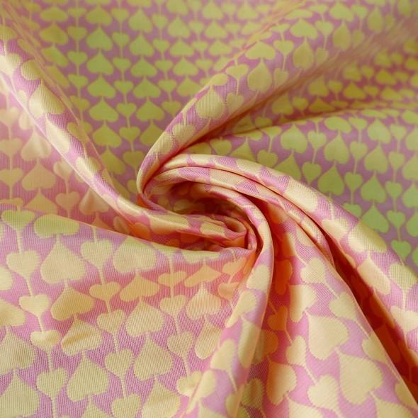 Ткань летний жаккард розово-желтый с сердечками