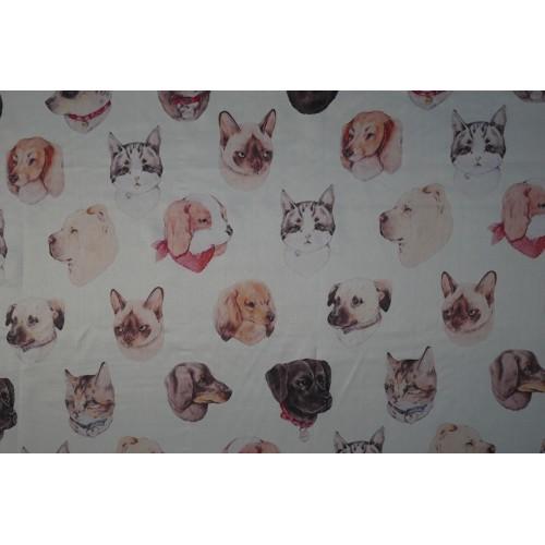 Шелк 100% с принтом кошки и собаки ,матовая,тонкая ткань