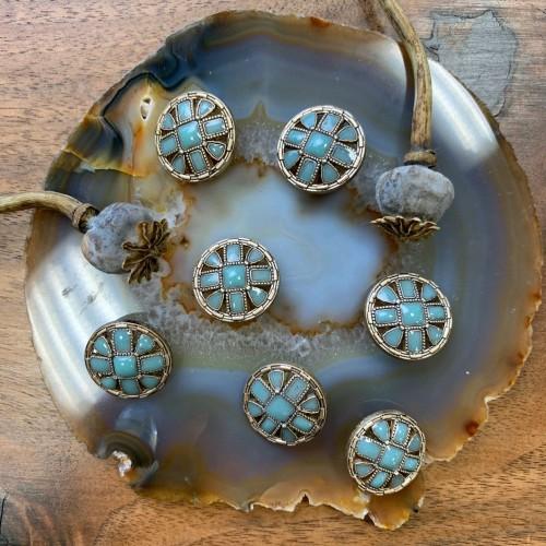 Пуговица матовые бронзовый с эмалью цвета мяты