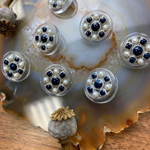 Пуговицы прозрачные с тёмно-синими вставками