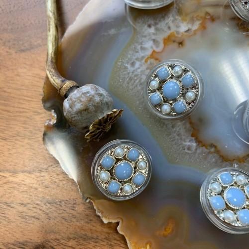 Пуговицы прозрачные с голубыми вставками и серебристым металлом (Артинкул: 41)