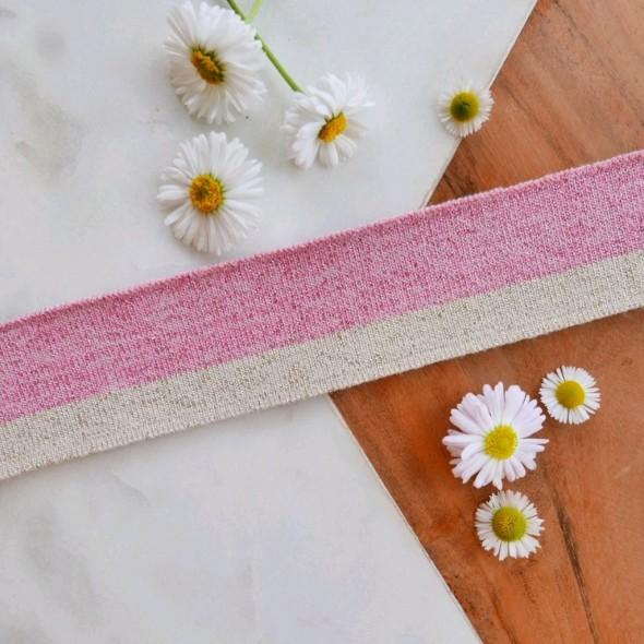 Подвязы трикотажные розовые с бежевой полоской