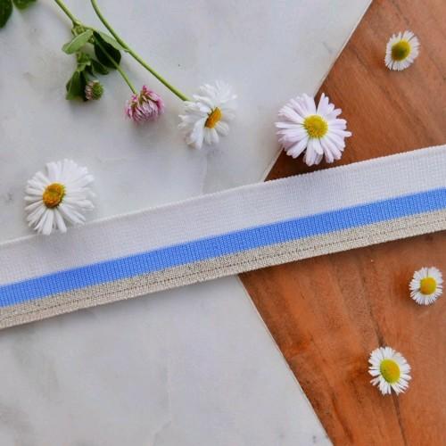 Подвязы трикотажные белые с ярко-голубой и бежевой полосками