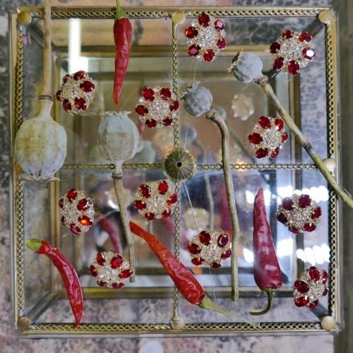 Пуговицы с кристаллами красного цвета