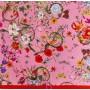 Шелк натуральный ярко-розовый с цветочным принтом