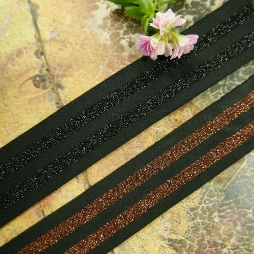 Резинка декоративная эластичная для поясов с блестящими полосками