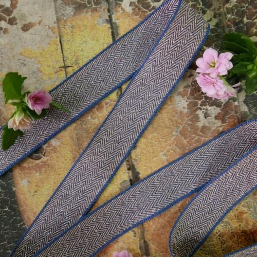 Тесьма репсовая розово-голубая с деликатным серебристым люрексом