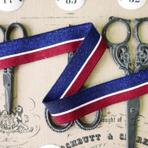 Подвязы трикотажные с люрексом сини- красные с тонкой белой полоской