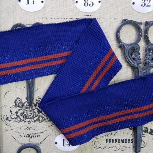 Подвязы трикотажные с люрексом ярко -синие с рыжими полосками