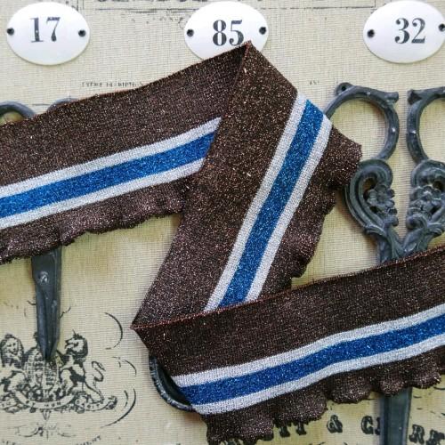 Подвязы трикотажные с люрексом тёмно-коричневые с полосками