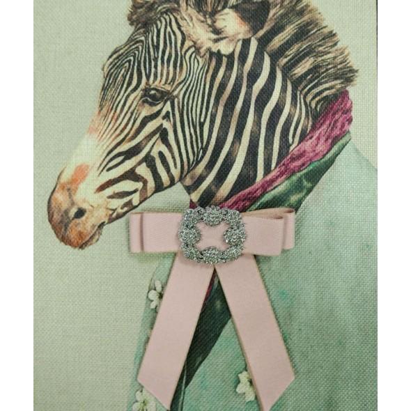 Розовый брошь-бант из плотной репсовой ленты