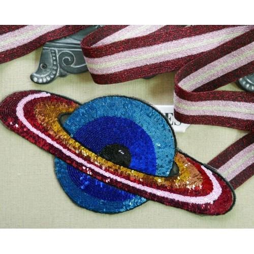 Нашивка для одежды с пайетками планета
