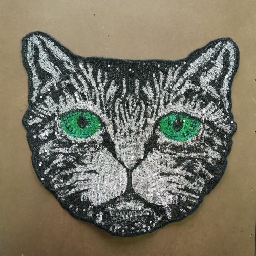Нашивка с пайетками кошка