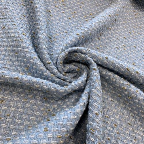 Ткань твид нежно-голубой с молочными и золотистыми нитями букле