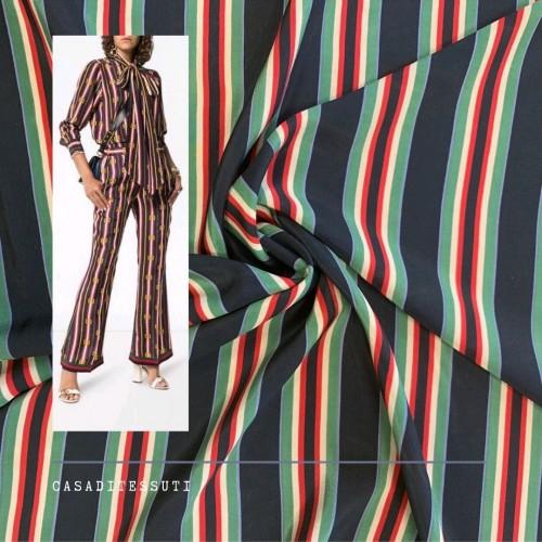 Ткань шелк натуральный черный в полоску