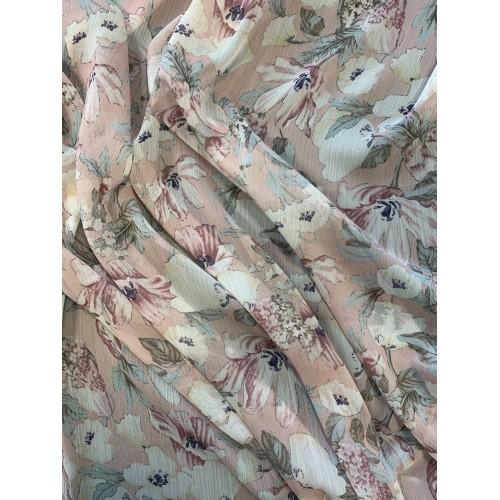 Ткань шифон цветочный в розовых тонах