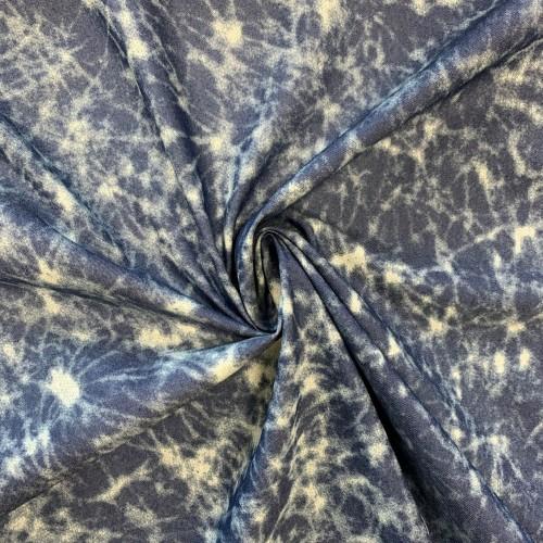 Ткань хлопковая джинса с принтом тай-дай