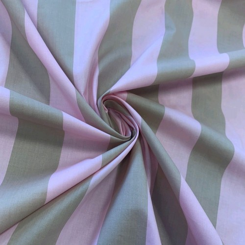 Ткань хлопок в широкую полоску в розово-бежевых тонах