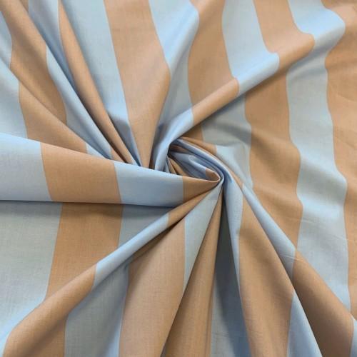 Ткань хлопок в широкую полоску в бежево-голубых тонах