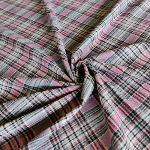 Ткань костюмная в клетку с шерстью в составе