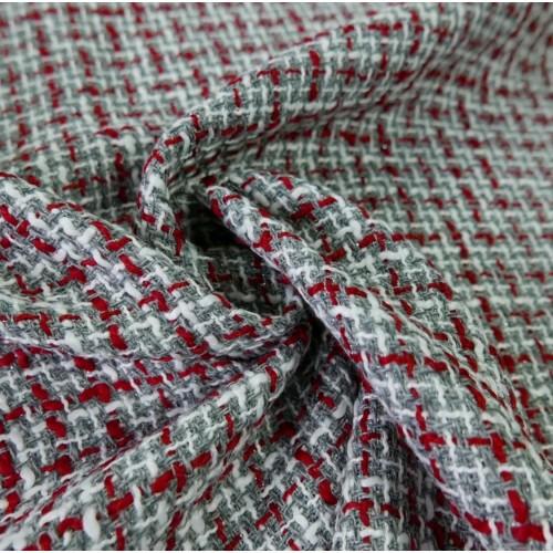 Ткань твид серый с добавлением красных и молочных нитей