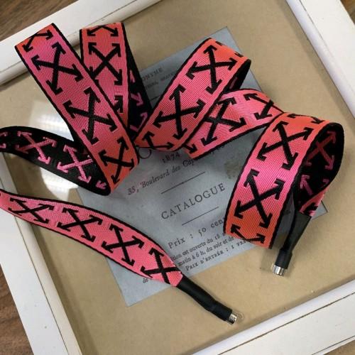 Шнурок декоративный из репсовой жаккардовые ленты, неоново-розовый