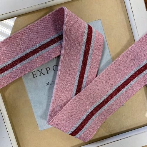 Подвязы трикотажные розового цвета с люрексом и цветными полосками