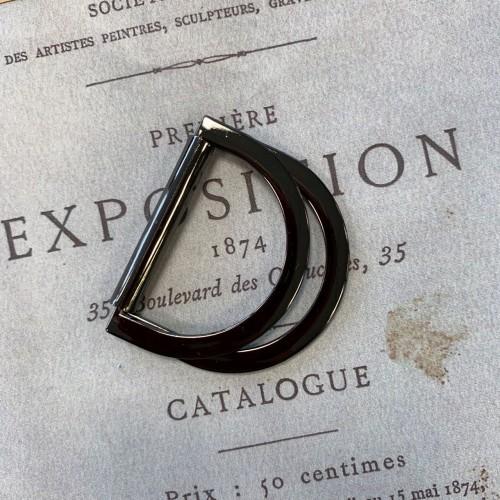 Полукольцо металлическое двойное цвета темного серебра