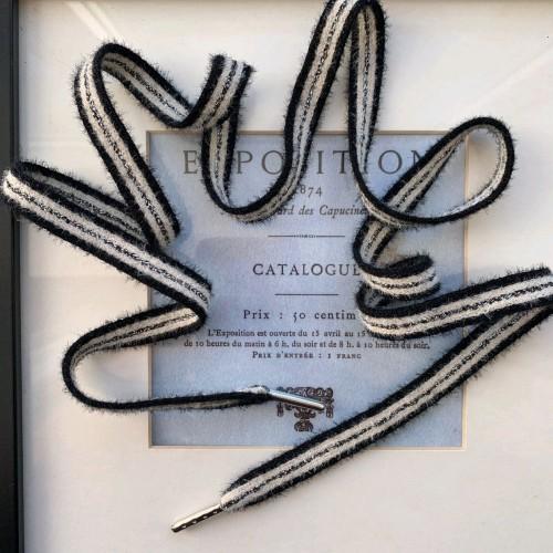 Шнурки полосатые для спортивной одежды черные с серебристым люрексом