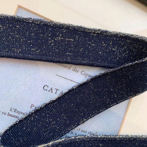 Подвязы трикотажные тёмно-синее с золотистым люрексом