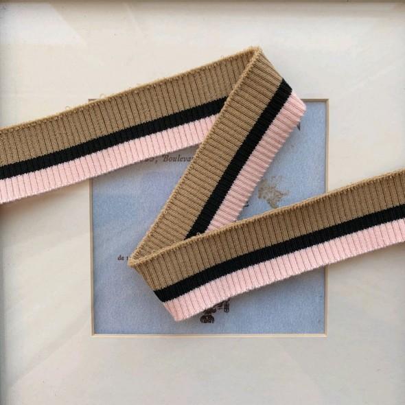 Подвязы трикотажные бежево-розовые с чёрной полоской в центре