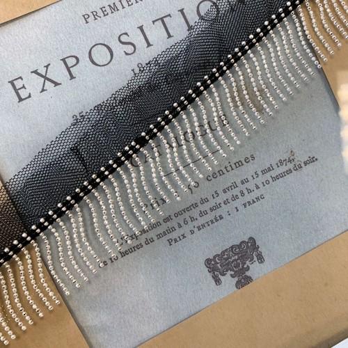 Тесьма декоративная с цепочками на основе из сетки чёрного цвета