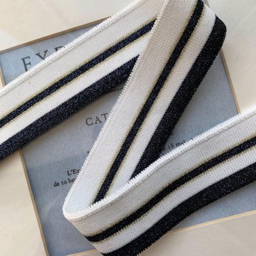 Подвязы трикотажные белые с синими блестящими полосками