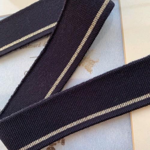 Подвязы трикотажные тёмно-синие с тонкой золотистой полоской