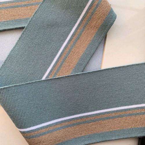 Подвязы пастельного мятного цвета с бронзовыми и белой полосками