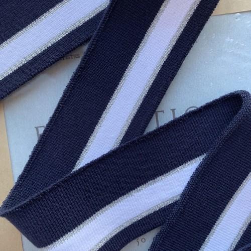 Трикотажные подвязы синего цвета с белой и серебристой полосками