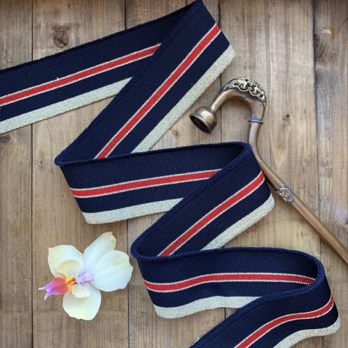 Трикотажные подвязы темно-синего цвета с красной и золотистыми полосками