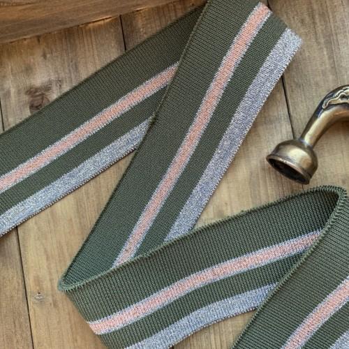 Трикотажные подвязы цвета хаки с бронзовыми полосками
