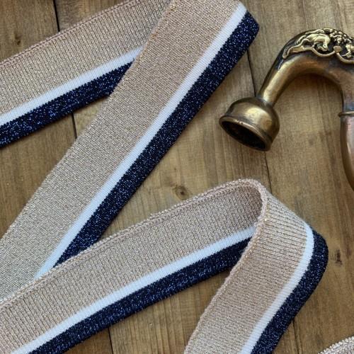 Трикотажные подвязы цвета бежевого цвета с синей и белой полосками