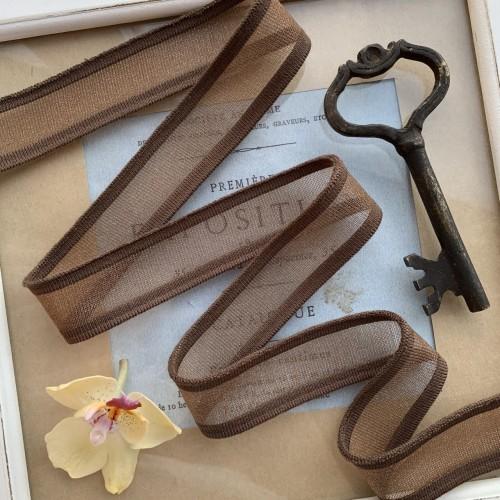 Трикотажные подвязы прозрачные, насыщенного коричневого оттенка