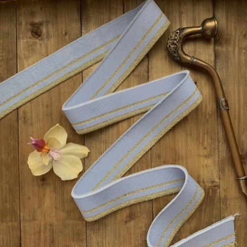 Трикотажные подвязы нежного голубого оттенка с золотистыми полосками
