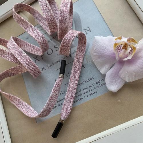 Шнурки трикотажные,мягкие,молочные с розовым люрексом