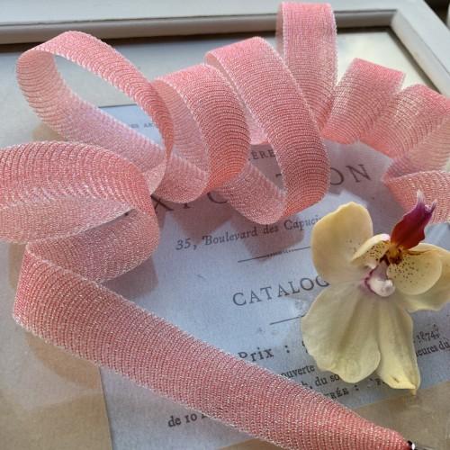 Прозрачные шнурки для декорирования одежды кораллово-красные с люрексом