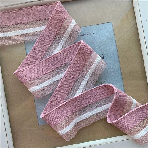 Подвязы трикотажные нежно-розовые с прозрачной и белой полосками