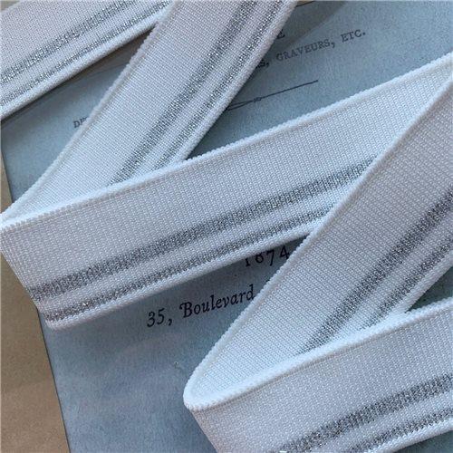Подвязы трикотажные белые с серебристыми полосками