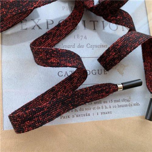 Шнурок трикотажный тёмно-красный с люрексом